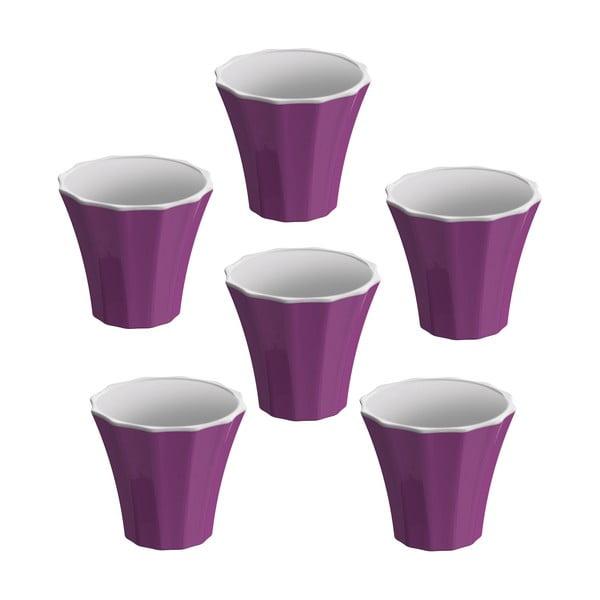 Sada 6 šálků na kávu Colour, fialová
