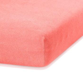 Cearceaf elastic AmeliaHome Ruby, 200 x 140-160 cm, roz corai de la AmeliaHome