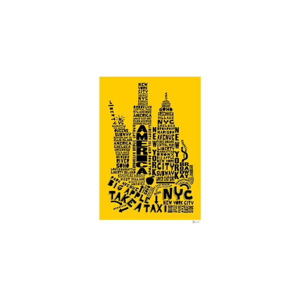 Plakát New York Yellow&Black, 50x70 cm