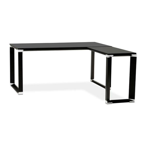 Černý pracovní rohový stůl s dřevěnou deskou Kokoon Warner