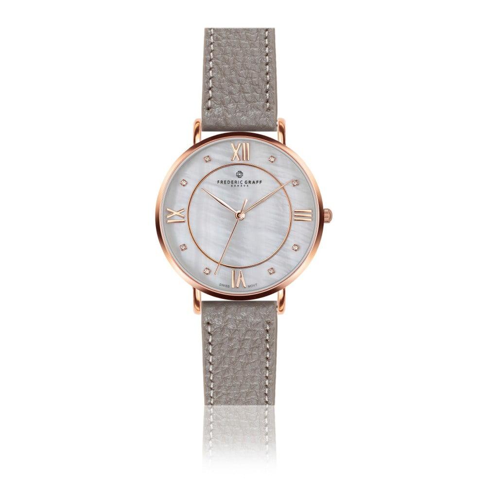f8af0b0c027 Dámské hodinky s koženým páskem ve šedé barvě Frederic Graff Liskamm
