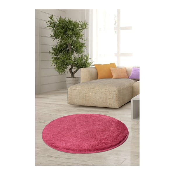 Růžový koberec Milano, ⌀90cm