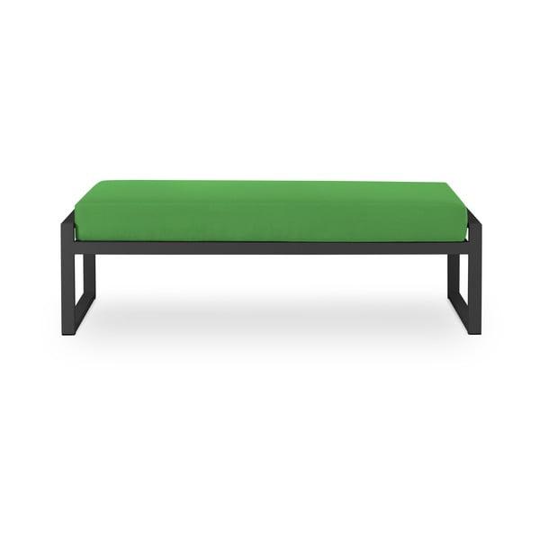Zelená dvojmiestna vonkajšia lavica v čiernom ráme Calme Jardin Nicea