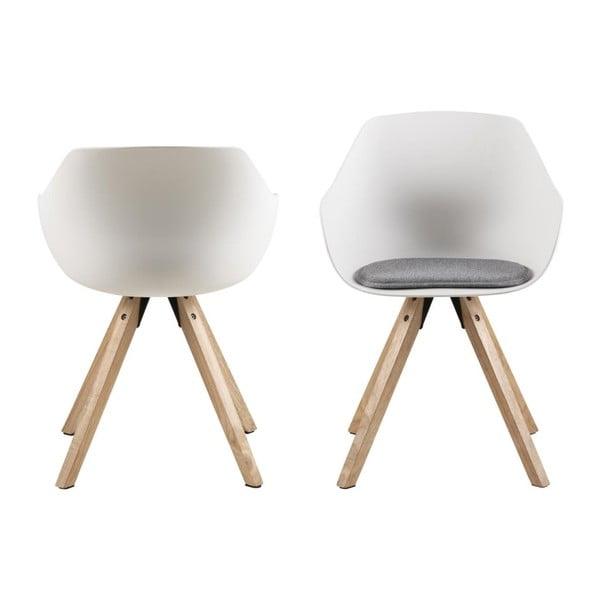 Sada 2 bielych jedálenských stoličiek s nohami z kaučukovníka Actona Tina