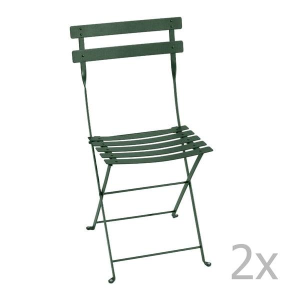 Sada 2 tmavě zelených skládacích židlí Fermob Bistro