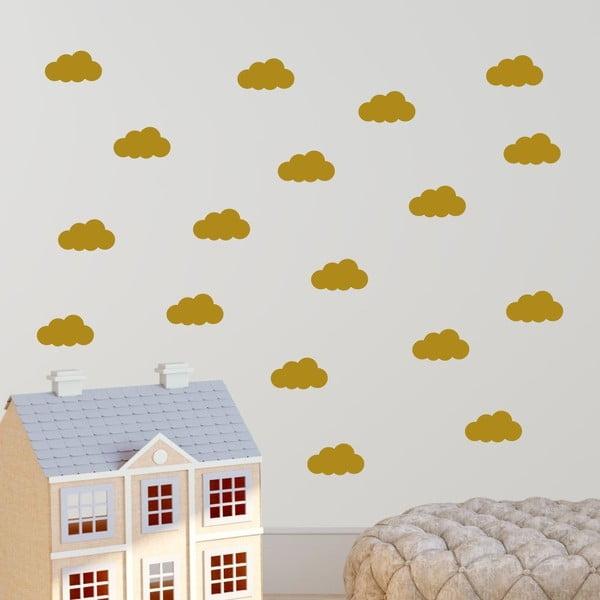 Cloudy citromsárga öntapadós falmatrica szett - North Carolina Scandinavian Home Decors