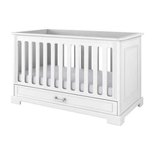 Pătuț pentru copii cu sertar BELLAMY Ines,70x140cm, alb