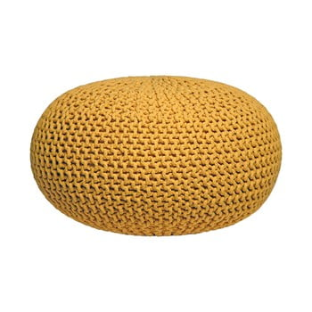 Puf tricotat LABEL51 Knitted XL, galben imagine