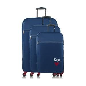 Sada 3 modrých cestovních kufrů na kolečkách INFINITIF Love