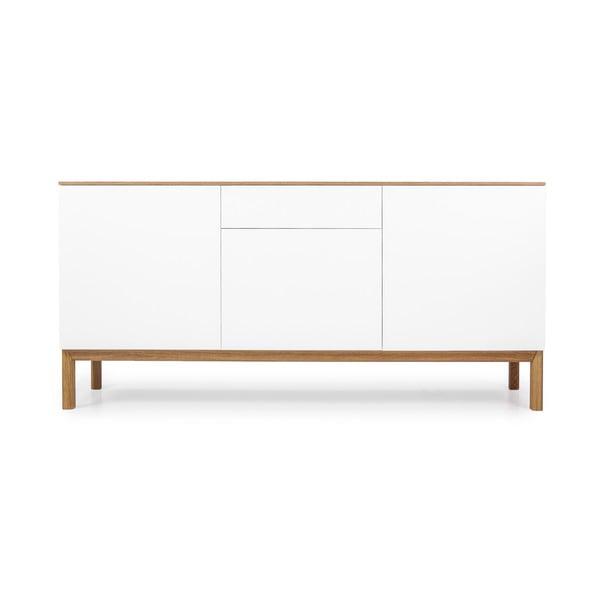 Biała 3-drzwiowa komoda z szufladą i z blatem w dekorze drewna dębowego Tenzo Patch
