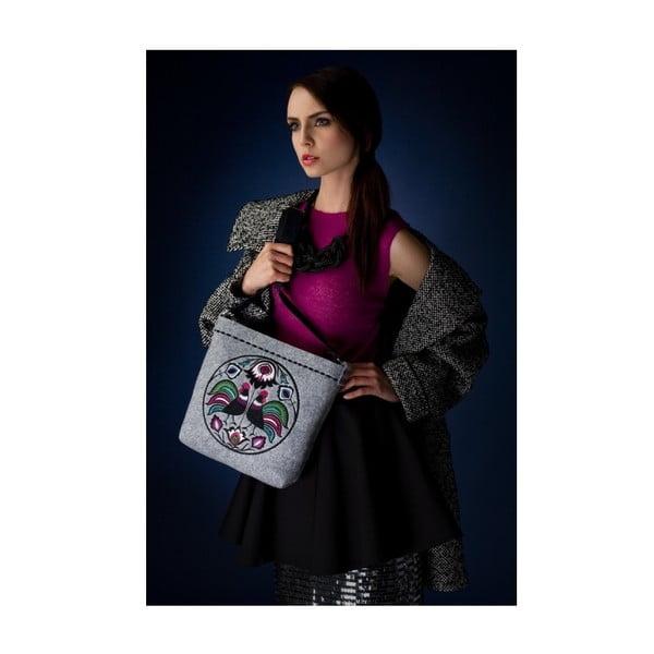 Plstěná vyšívaná taška s koženým popruhem Folk Kohoutí