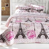 Růžový prošívaný lehký přehoz na dvoulůžko s povlaky na polštáře From Paris, 200x220cm