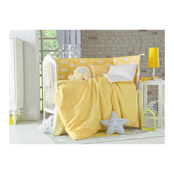 Žlutý dětský polštářek s příměsí bavlny Apolena Pillow Toy Bear Cute, 22 x 30 cm
