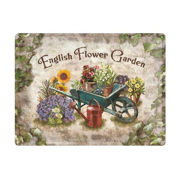 Cedule English Flower Garden, 30x40 cm