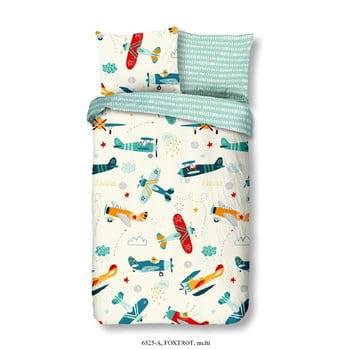 Lenjerie de pat din bumbac pentru copii Good Morning Airplane, 140 x 200 cm de la Good Morning