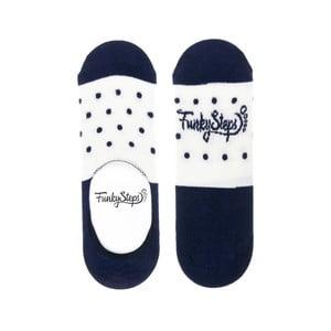 Modro-bílé nízké ponožky Funky Steps Dots, velikost 39 – 45