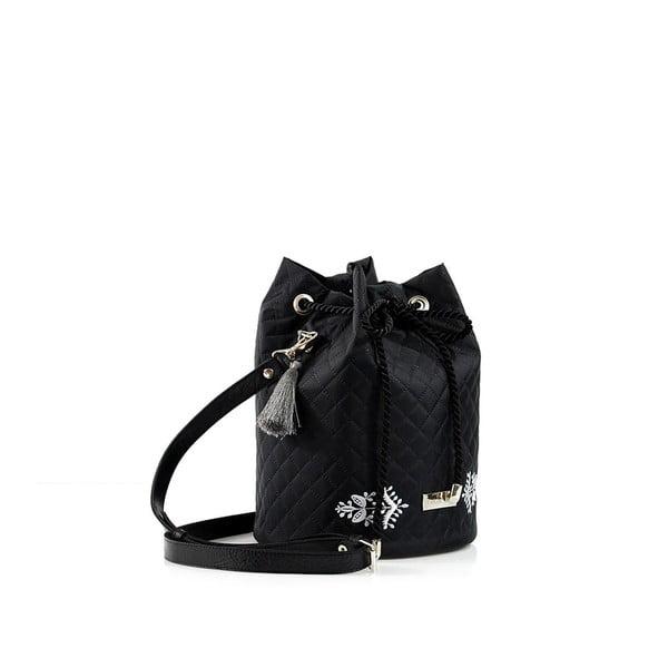 Taška s bílým prošíváním, černá