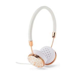 Bílá sluchátka s detaily v barvě růžového zlaté Frends Layla Mosaic