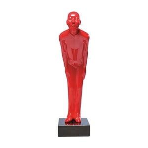 Červená dekorativní soška s mramorovým podstavcem Kare Design Welcome, 20 x 13 cm