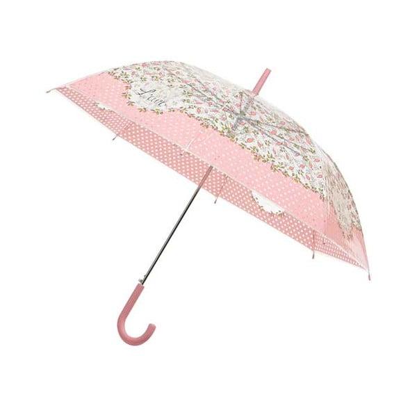 Transparentní holový deštník Pink Flowers, ⌀103cm