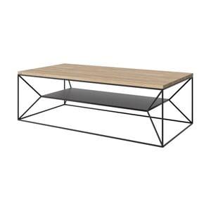 Černý TV stolek s deskou z dubového dřeva Take Me HOME, 120x60cm