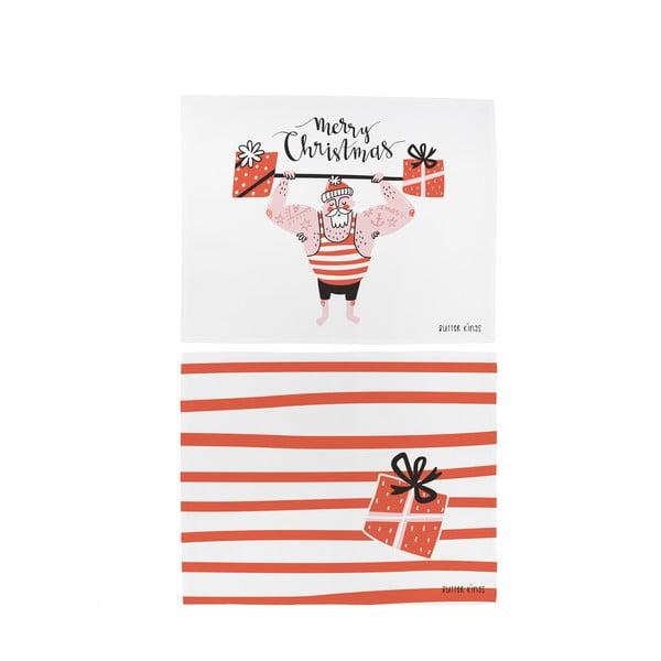 Zestaw 2 bawełnianych mat stołowych ze świątecznym motywem Butter Kings Training Santa, 45x35 cm