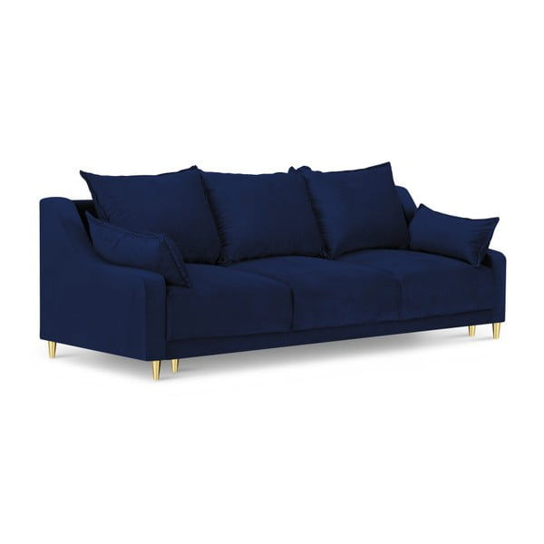 Niebieska 3-osobowa sofa rozkładana z miejscem do przechowywania Mazzini Sofas Pansy