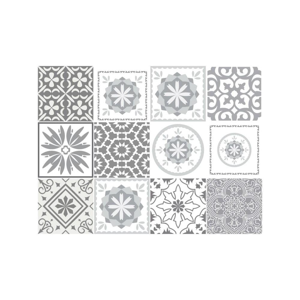 Sada 12 nástěnných samolepek Ambiance Cement Tiles Shades of Gray Cordoba, 10 x 10 cm