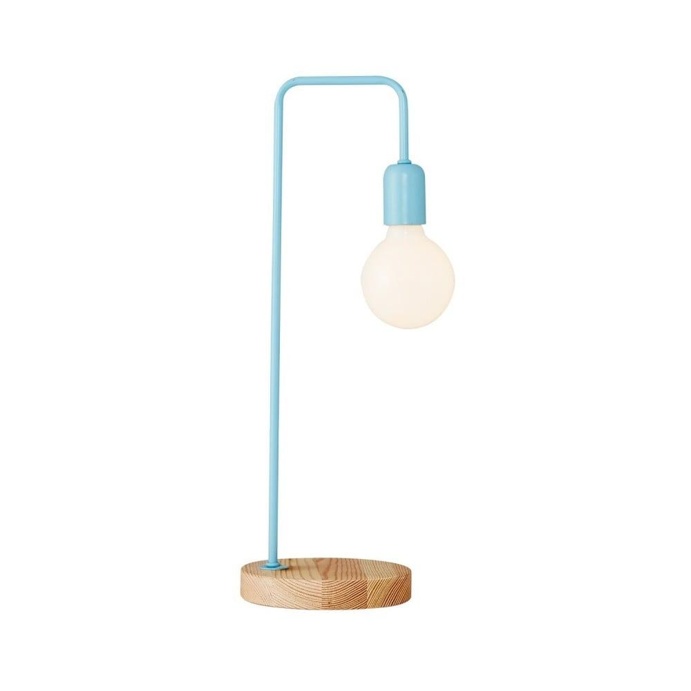 Světle modrá stolní lampa s dřevěným podstavcem Valetta