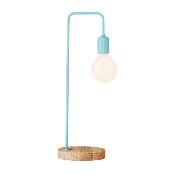 Svetlomodrá stolová lampa s dreveným podstavcom Valetta