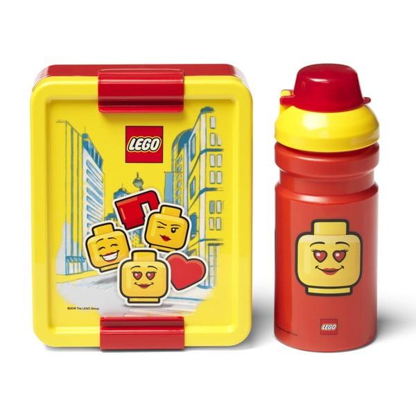 Set caserolă pentru gustări și sticlă LEGO® Iconic, roșu-galben