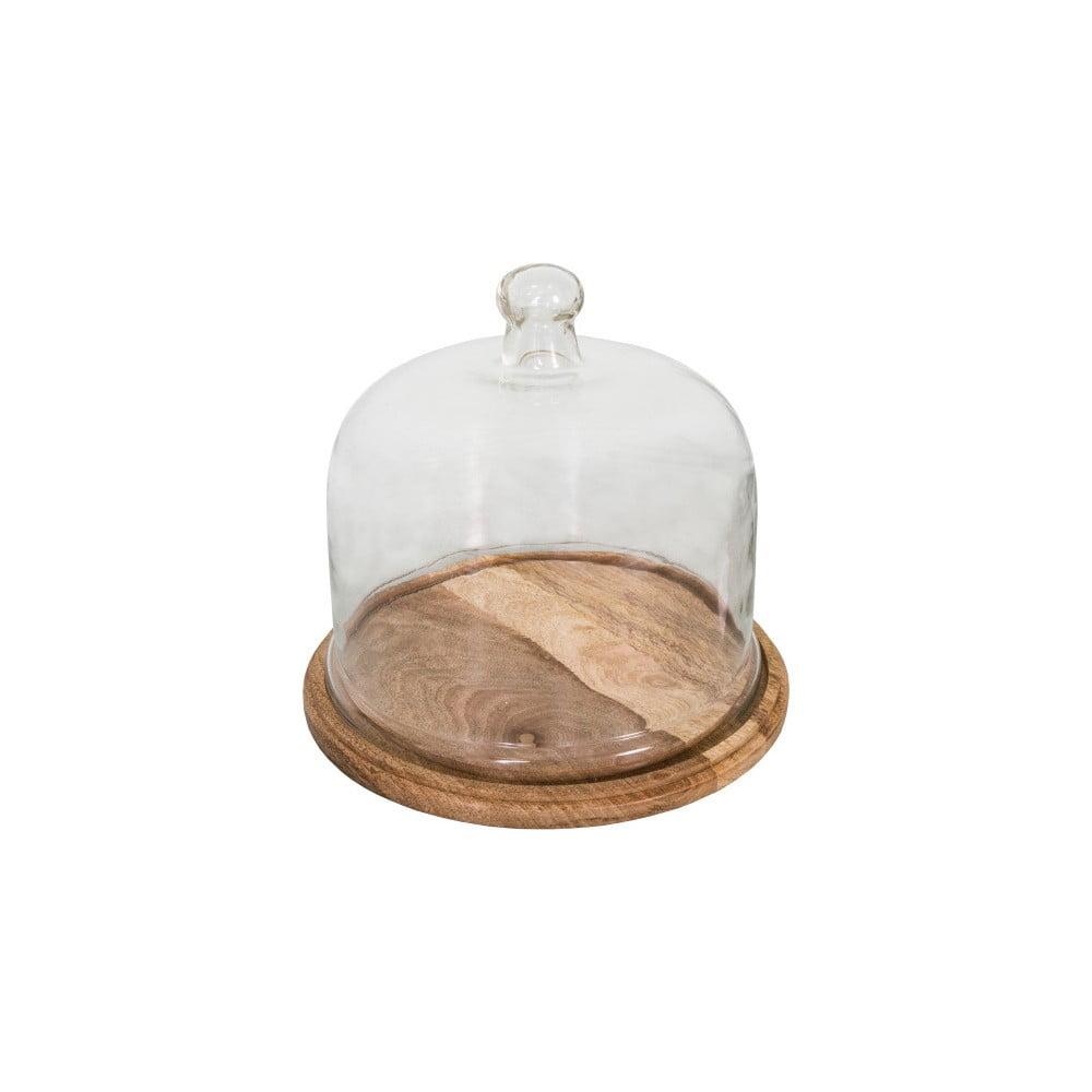 Dóza na sýr dřevěným podnosem a skleněným víkem Antic Line