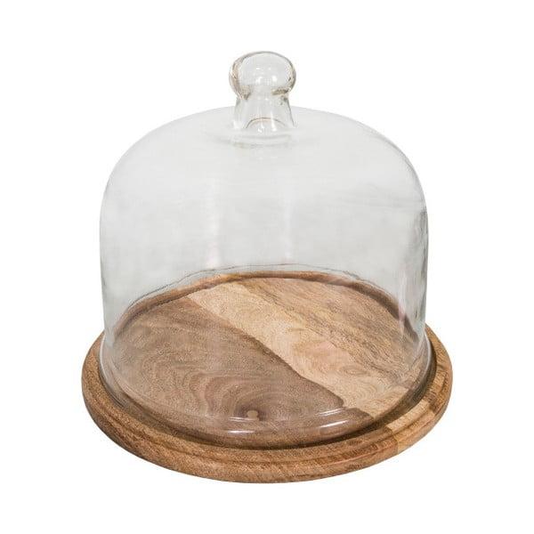 Sajtosdoboz fa alátéttel és üveg fedéllel - Antic Line