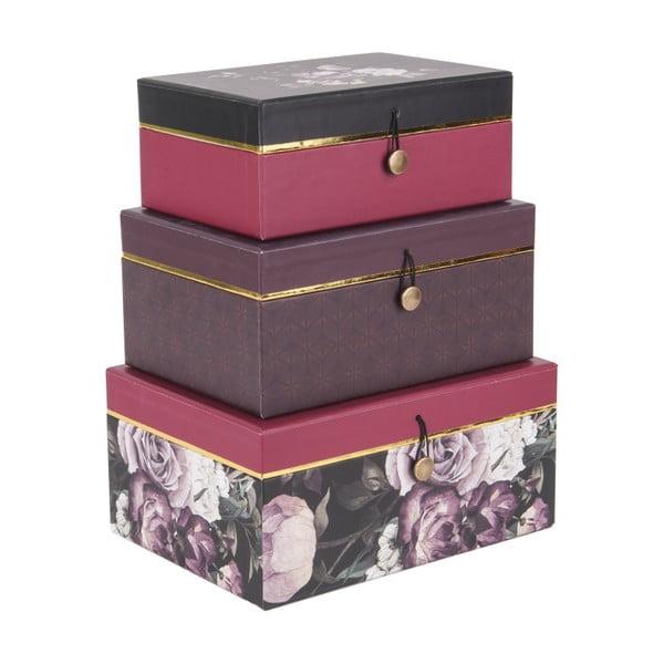 Sada 3 úložných boxů PT LIVING Flowers