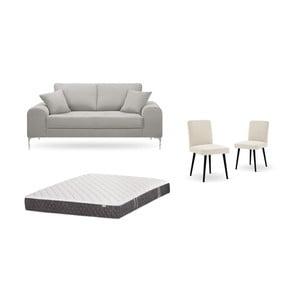 Set dvoumístné světle šedé pohovky, 2krémových židlí a matrace 140 x 200 cm Home Essentials