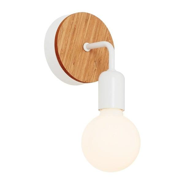 Bílé nástěnné svítidlo s dřevěným detailem Homemania Valetta