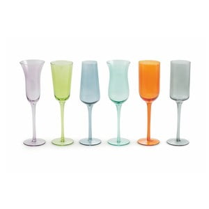 Sada 6 barevných sklenic na víno Villa d'Este Cromia Flute, 200 ml