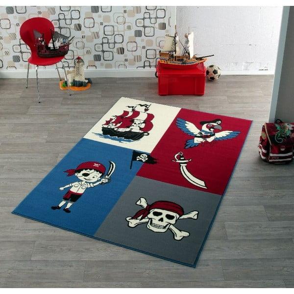 Dětský červeno-modrý koberec Hanse Home Pirát, 140x200 cm