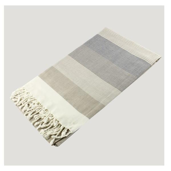 Světlá osuška z čisté bavlny Hammam Strip Style, 90  x  180 cm