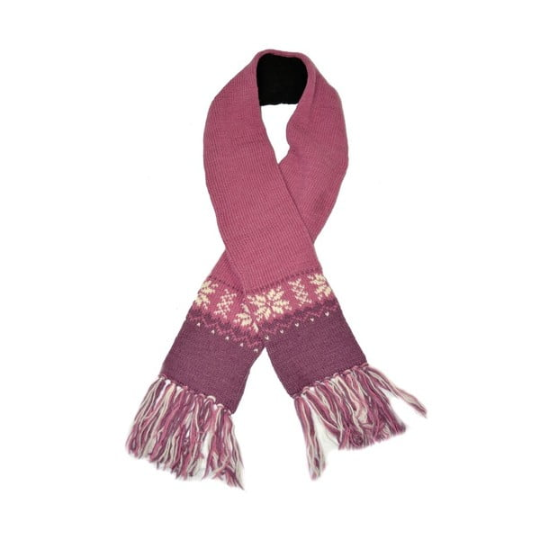 Vlněná šála s fleecovou podšívkou Růžové vločky