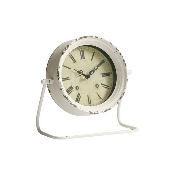 Kovový budík, antique white, 19x21x10 cm