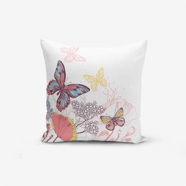 Față de pernă cu amestec din bumbac Minimalist Cushion Covers Special Design Colorful Butterfly, 45 x 45 cm