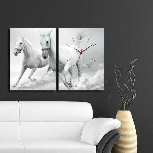 Obrazové hodiny Koně andělé