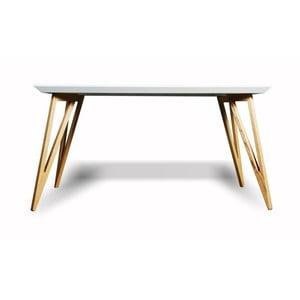 Jídelní stůl z masivního jasanového dřeva s bílou deskou Charlie Pommier Triangle, 160x80cm