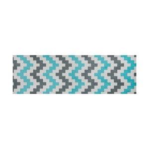 Modře vzorovaný běhoun White Label Zic Zac, 150 x 50 cm