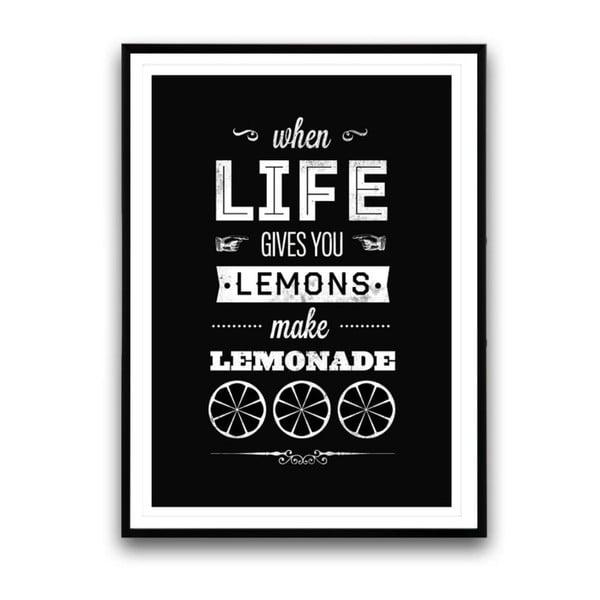 Plakát v dřevěném rámu Make lemonade, 38x28 cm