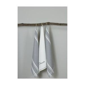 Sada 3 šedo-bílých kuchyňských utěrek My Home Plus Dinner, 50 x 70 cm