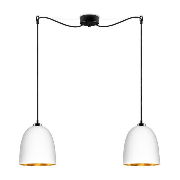 Biele dvojité matné závesné svietidlo s čiernym káblom s detailom ve zlaté farbe Sotto Luce Awa