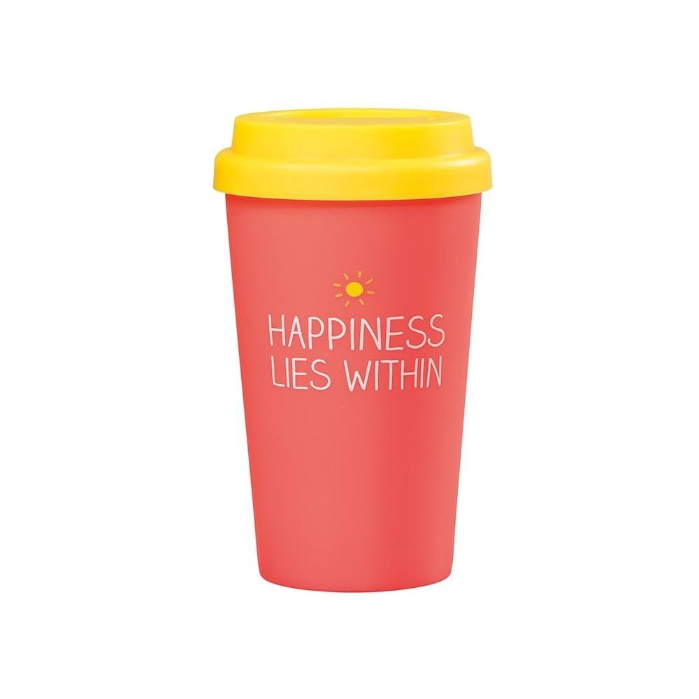 Červený cestovní hrnek Happy Jackson Happiness, 400 ml