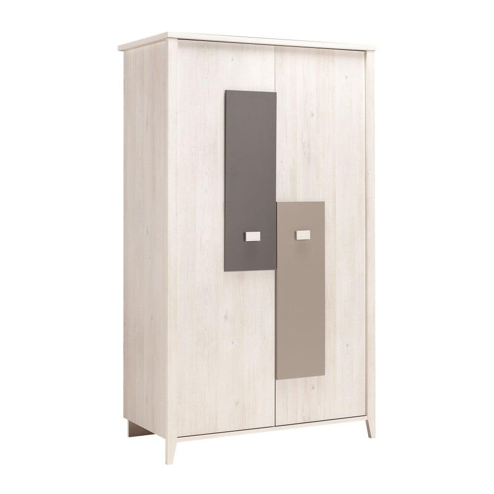 Dvoudveřová šatní skříň v dekoru světlého třešňového dřeva se šedými detaily Galipette Charly